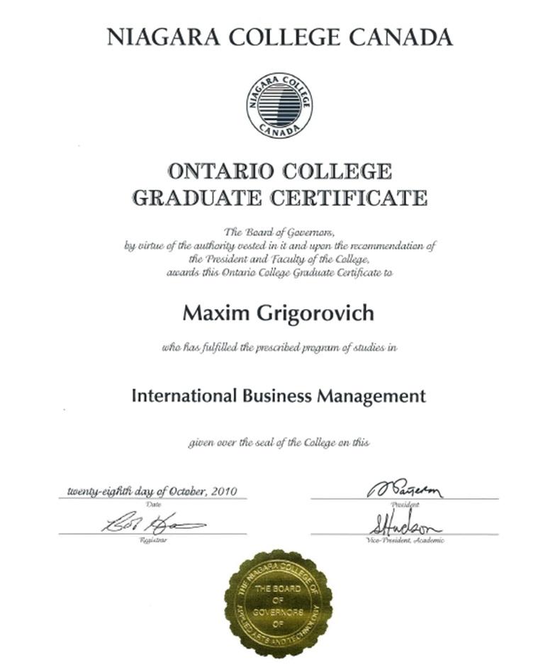 Certificates & Diplomas | Maxim Grigorovich
